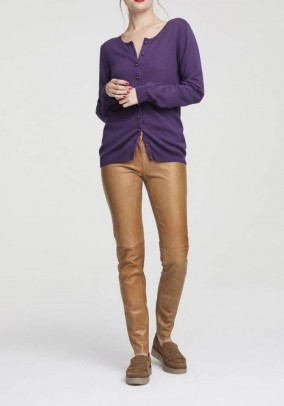 Leather leggings, cognac