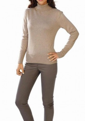 Turtleneck sweater, with cashmere, taupe