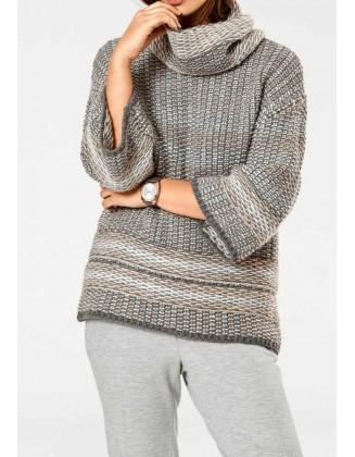 Pilkas plataus silueto vilnos megztinis