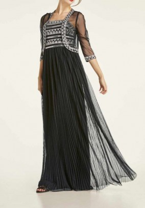 Evening gown and jacket with beads, black