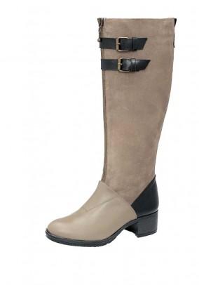 Odiniai rusvi ilgaauliai batai