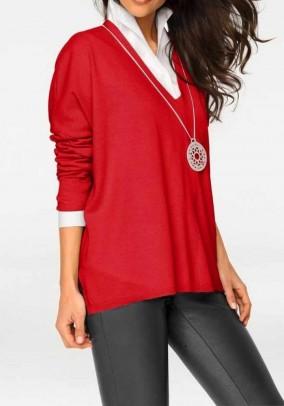 Raudonas platus megztinis su vilna ir kašmyru