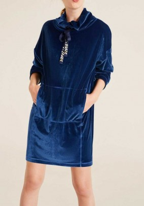 Velvet long shirt, blue