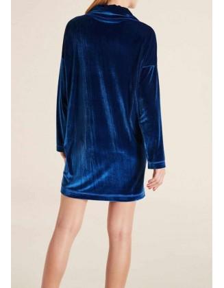 Mėlyna aksomo suknelė - tunika