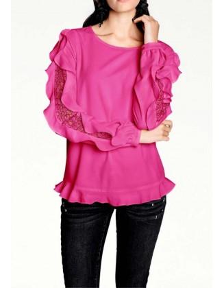 Rožinė palaidinė dekoruotom rankovėm