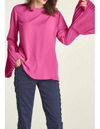 Rožinė palaidinė klostuotomis rankovėmis