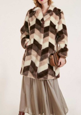 Faux fur coat, colorful