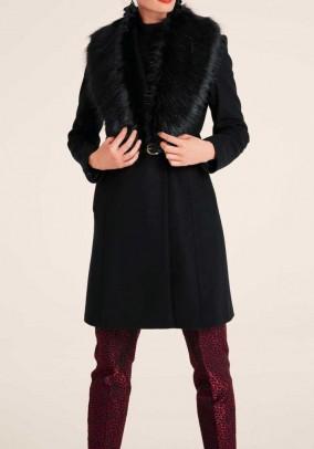 Vilnos ir kašmyro paltas su kailine apykakle