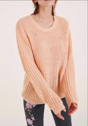 Knit sweater with strass, rose