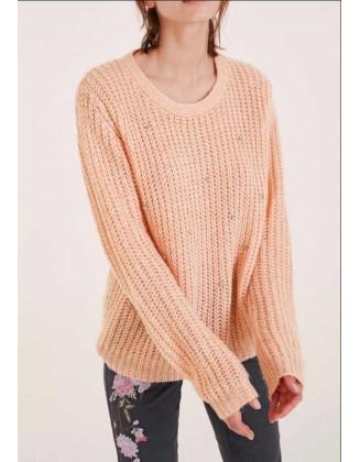 Rausvas vilnonis oversize megztinis