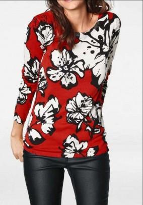 Raudonas megztinis su gėlėmis