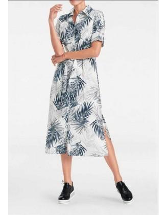 Pilka midi suknelė su augalų motyvais