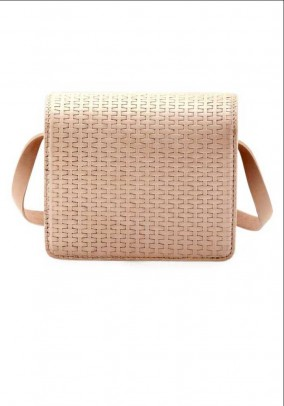 Designer leather shoulder bag, nude