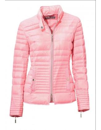 Rožinė striukė su pūkais
