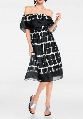 Designer Carmen dress, black-off-white