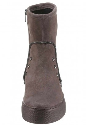 Velours booties with rivets, grey