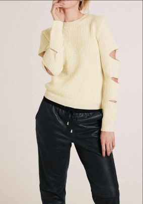 Sweater with cut-outs, cream