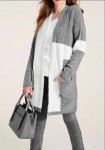 Kontrastingas pilkas ilgas megztinis