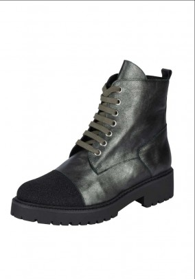 Leather boots, black-green