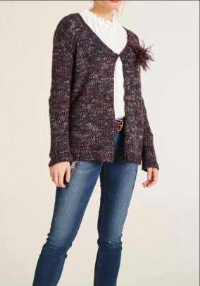 Cardigan with brooch, multicolour