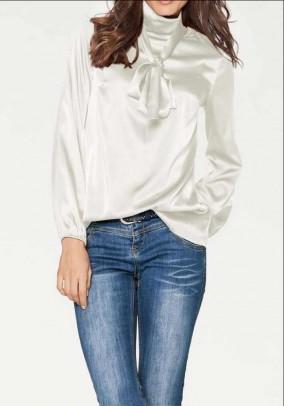 Silk blouse with slip tie, ecru