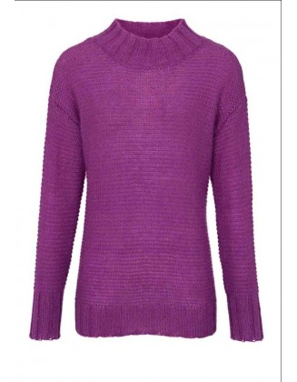 Violetinis laisvo stiliaus megztinis su mohera