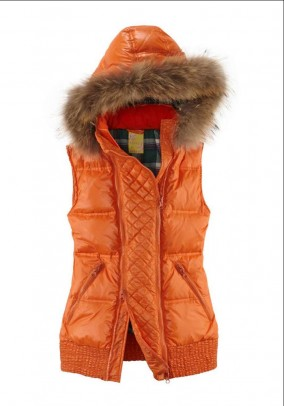 Down vest with real fur, orange