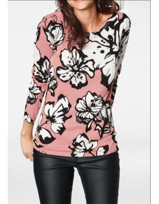 Rausvas megztinis su gėlėmis