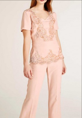 Lace blouse with sequins, rose