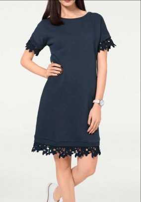 Sweat dress with lace, navy
