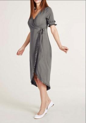 Pilka susiaučiama midi suknelė