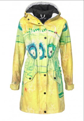 Branded raincoat, yellow-colored