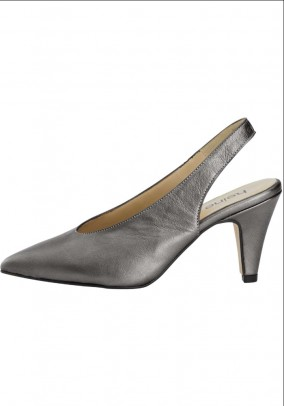 Leather slingback pumps, anthracite-metallic