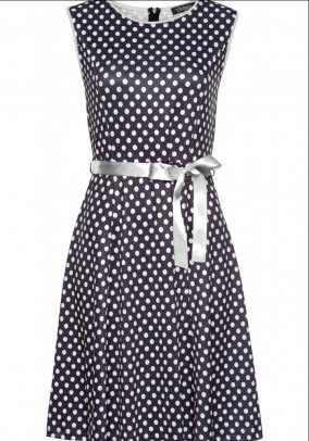 Polka dot dress, black and white
