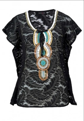 Lace tunic w. Bead embroidery, black