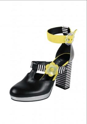 Ankle strap pumps, black-yellow
