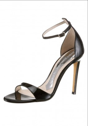 Designer patent leather sandals, black