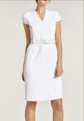 Shift dress w. Belt, white