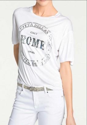 Designer print shirt, ecru