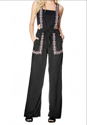 Brand dungarees w. Embroidery, black