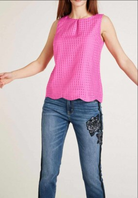 Designer blouse top w. Burnout pattern, pink