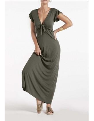 Ilga chaki spalvos suknelė