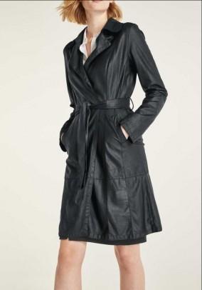 Natūralios odos juodas paltas