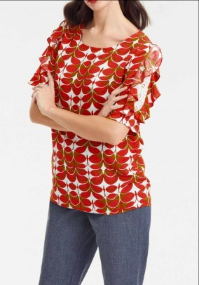 Designer print blouse w. Pointy, red-cognac
