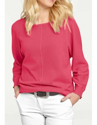 Rožinis plataus pasiuvimo megztinis