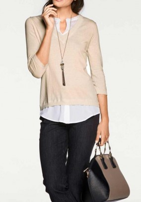 Two-in-one sweater with silk, beige-white