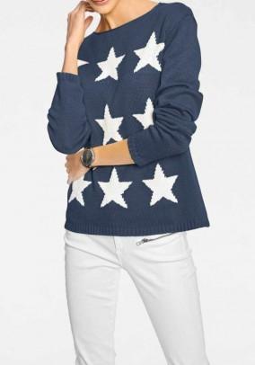 Mėlynas žvaigždėtas megztinis