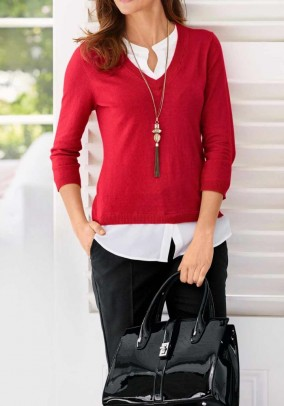Two-in-one sweater with silk, red-white