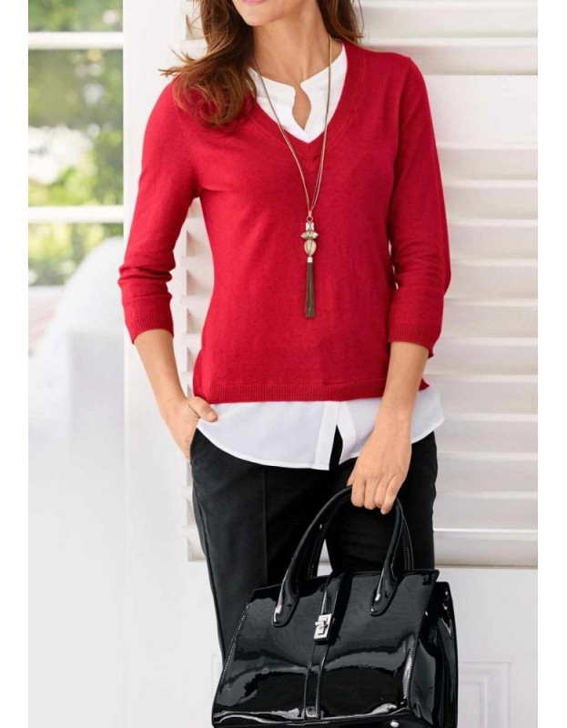Raudonas megztinis su šilko detalėm