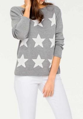 Pilkas žvaigždėtas megztinis